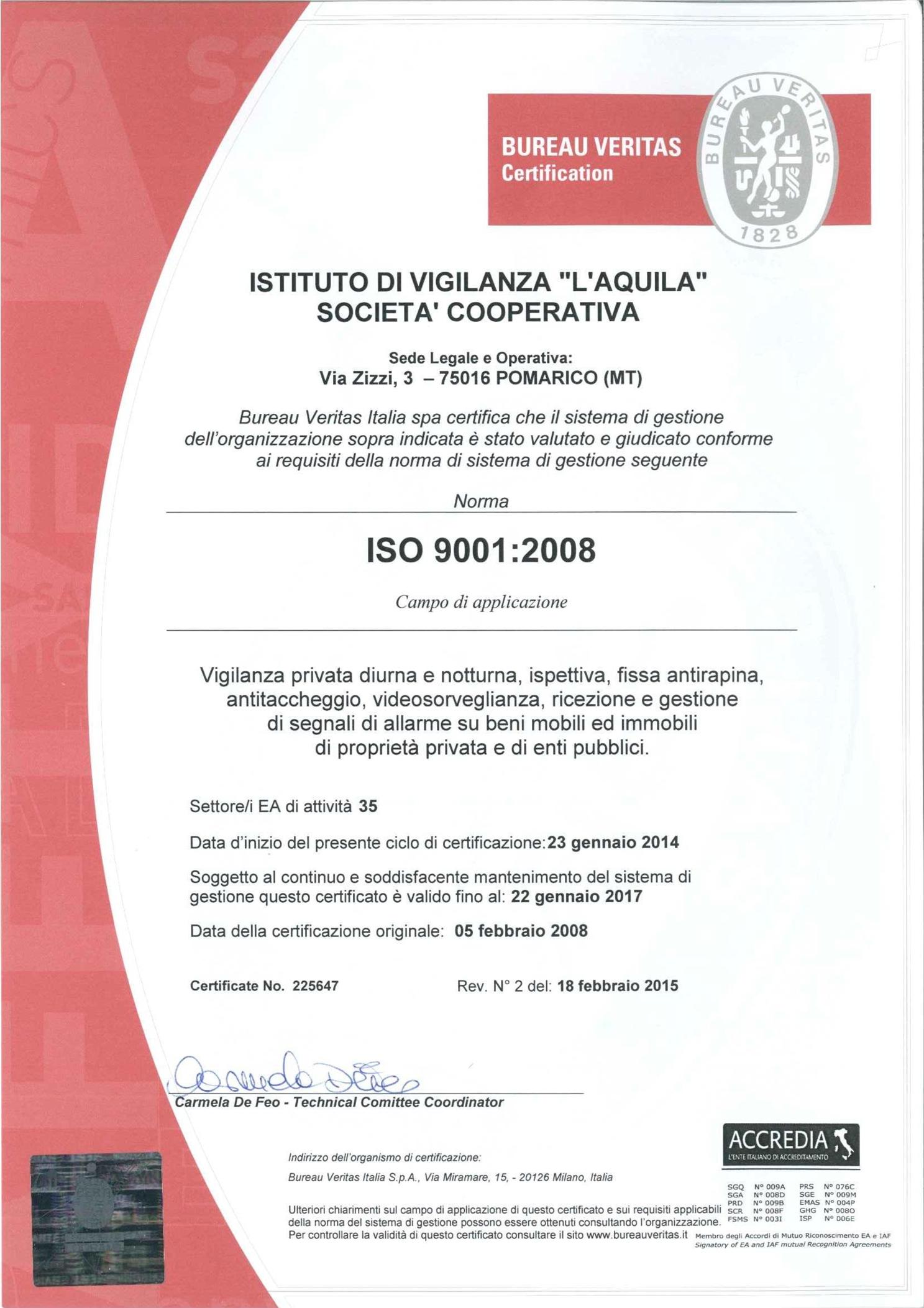 Certificato iso 9001-2008 - ISTITUTO DI VIGILANZA