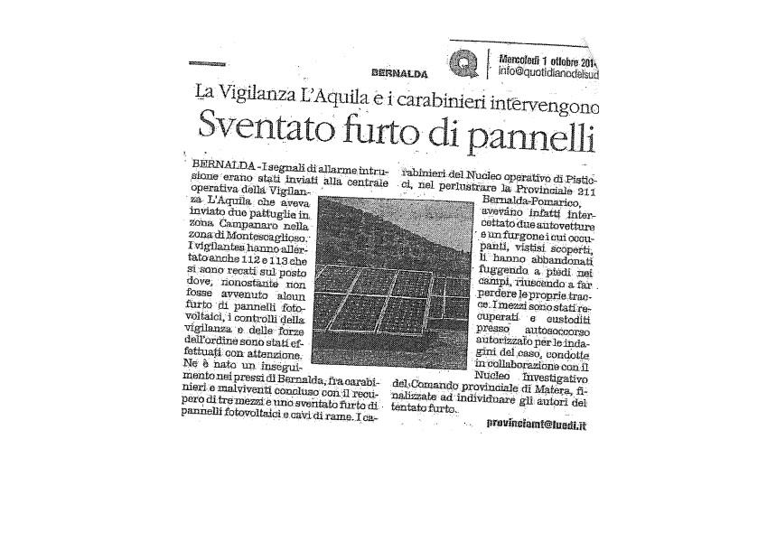 Sventato furto di pannelli solari a Bernalda